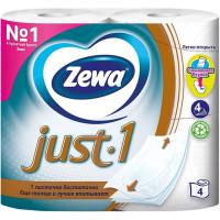 Туалетная бумага Zewa Just1 (Зева Джаст), цвет белый, 4-х слойная, 4 рулона