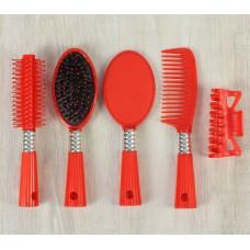 Набор расчёсок, 5 предметов: с ручкой, массажная, брашинг, краб, зеркало (цвета микс)