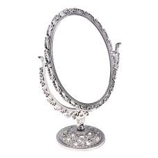 Зеркало настольное, овальное, двустороннее, с увеличением, цвет серебристый