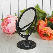 Зеркало настольное, овальное, двустороннее, с увеличением, цвет черный