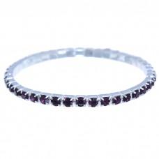 Браслет Лёд 1 ряд, цвет фиолетовый в серебре (2 мм)