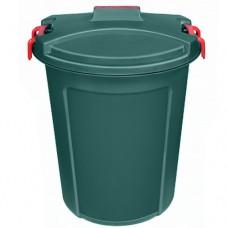 Бак пластмассовый с крышкой Геркулес, ручки-клипса, зеленый, 100 л, д60 см, h72 см