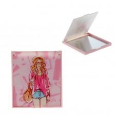 Зеркало складное, прямоугольное Девушка без увеличения, разноцветное, 7,5 см × 6,5 см