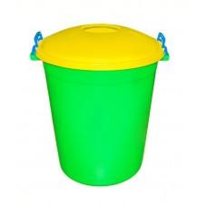 Бак пластмассовый Антей, с крышкой-клипс, (зелено-желтый), д35 см, h61 см, 70 л