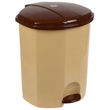 Ведро для мусора с педалью пластмассовое, внутр/ведро, (бежево-коричневый), 27х26х32 см, 11 л