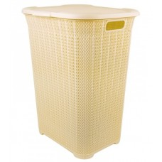 Корзина для белья пластиковая Вязаный узор, бежевая, 43х35х56 см, 50 л