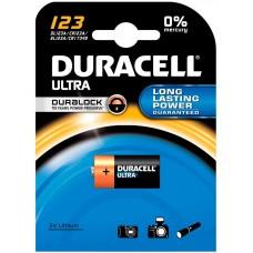 Батарейка литиевая Duracell (Дюраселл) CR123, 1 шт