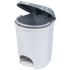 Ведро для мусора с педалью пластмассовое 11 л, в комплекте с внутренним ведром (мраморный)
