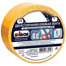 Клейкая лента (скотч) Unibob (Юнибоб) 2-х сторонняя, основа полипропилен, упаковка с европодвесом, 38 мм х 10 м