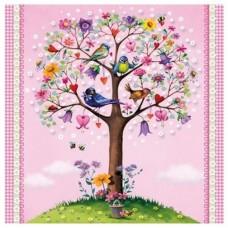 Салфетки бумажные двухслойные Antella (Антелла) Дерево любви, 33х33 см, 20 шт