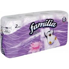 Туалетная бумага Familia Plus Волшебный цветок, 2-слойная, 8 рулонов