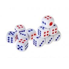 Кости игральные, белые с цветными точками 1,1×1,1 см