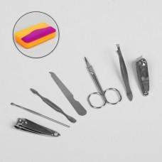 Набор маникюрный в футляре, 7 предметов, цвета Микс