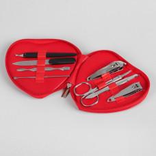 Набор маникюрный в футляре, 8 предметов (цвет красный)