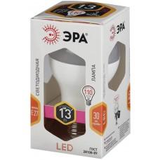 Лампа светодиодная Эра, 13(110) Вт, цоколь E27, грушевидная, тепло-белый свет, 30000 ч, Led smdA65\A60-13W-827-E27