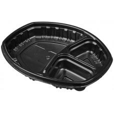 Контейнер пластиковый одноразовый СпК-257-3 ланч-бокс, черный, 70 шт