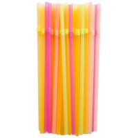 Трубочки для коктейлей с гофр. цветные, 100 шт