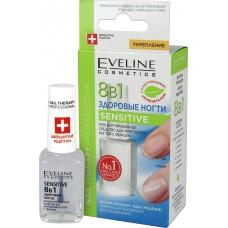 Концентрированное средство для укрепления ногтей с кварцем Eveline (Эвелин) Здоровые ногти 8в1 Sensitive, 12 мл