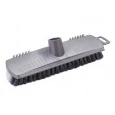 Щетка жесткая для сильных загрязнений, пластик без палки с зубчиками для очистки (серая)