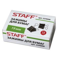 Зажимы для бумаг STAFF черные, комплект 12 шт, 19 мм, на 60 листов