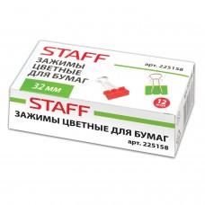 Зажимы для бумаг STAFF цветные, комплект 12 шт, 32 мм, на 140 листов