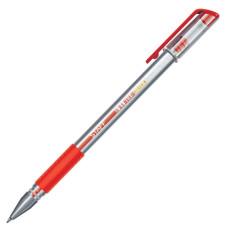 Ручка гелевая с грипом STAFF, корпус прозрачный, узел 0,5 мм, линия 0,35 мм, (красная)