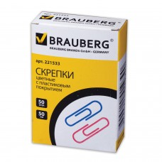 Скрепки BRAUBERG цветные, 50 мм, 50 шт
