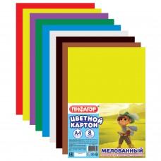 Цветной картон мелованный ПИФАГОР Мушкетер, 8 цветов, А4, 200х283 мм
