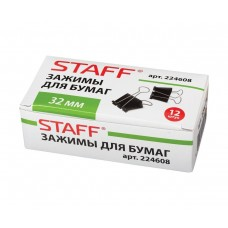 Зажимы для бумаг STAFF черные, комплект 12 шт, 32 мм, на 140 листов