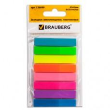 Закладки клейкие BRAUBERG Неоновые пластиковые, в пластиковой книжке, 45х8 мм, 8 цветов по 20 листов