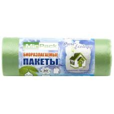 Мешки для мусора биоразлагаемые Пнд MirPack зеленые, 30 л, 7 мкм, 30 шт