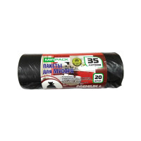 Мешки для мусора особопрочные MirPack (МирПак) черные Premium+, 35 л/20 шт