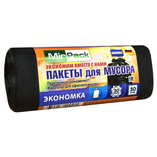 Мешки для мусора Пнд MirPack Экономка черные 30 л 5 мкм 30 шт