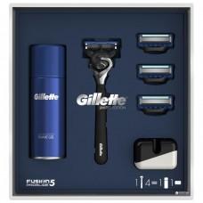 Подарочный набор Gillette Fusion Proshield ОГРАНИЧЕННАЯ СЕРИЯ: Бритва с 4 сменными кассетами, подставкой и гелем для бритья HydraGel для чувствительной кожи, 75 мл