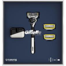Подарочный набор Gillette Fusion Proshield (Джилет) ОГРАНИЧЕННАЯ СЕРИЯ: Бритва с 3 сменными кассетами и подставкой