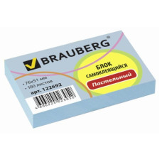 Блок самоклеящийся (стикер) BRAUBERG, голубой, 76х51 мм, 100 листов