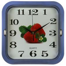 Часы настенные пластмассовые Клубника (цвет синий), циферблат фотопечать, 26х26х1,1 см