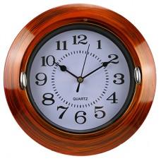 Часы настенные пластмассовые Светик (цвет коричневый), циферблат белый, 23х1,5 см