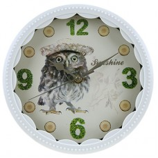 Часы настенные пластмассовые Сова (цвет белый), циферблат фотопечать, мягкий ход, 22х1,3 см
