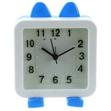 Часы-будильник Зайка-2 (цвет белый с голубым) циферблат белый, 10,5х13,5х5 см