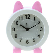 Часы-будильник Зайка (цвет белый с розовым) циферблат белый, 10,5х12,5х5 см