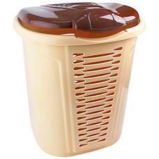 Корзина для белья пластмассовая (бежево-коричневая), 55 л