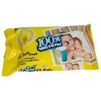 Детские влажные салфетки 100% Чистоты с экстрактом Ромашки, 72 шт