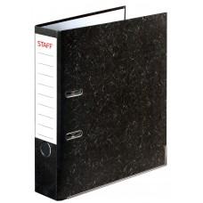 Папка-регистратор Staff (Стафф), с мраморным покрытием, без уголка, черный корешок, 70 мм