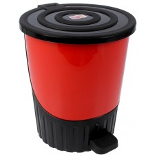 Ведро для мусора с педалью пластмассовое Сатурн, д28 см, h32,5 см, 14 л (красный)