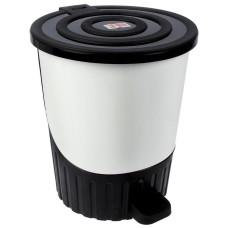 Ведро для мусора с педалью пластмассовое Сатурн, цвет серебряный, д28 см, h32,5 см, 14 л