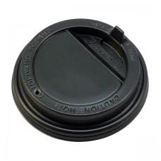 Крышка для горячих напитков с питейником, 90 мм, 100 шт, (черная)