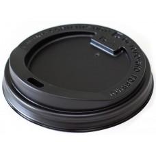Крышка для горячих напитков с питейником, цвет черный, 90 мм, 100 шт