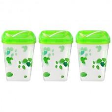 Банка для сыпучих продуктов пластмассовая Березка набор 3 штуки с ложкой 7х7 см h9,5 см (микс)