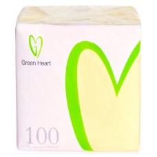Салфетки бумажные Green Heart, 1-слойные, тиснение сплошное, 100 листов (жёлтые), 24 см